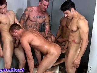 Group of jocks string uping hardcore orgy