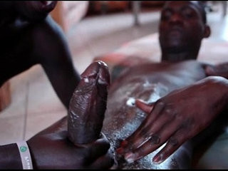 Black african threesome with cumshot