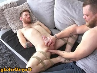Ginger tieded sub tugged and fucktoyed by dom