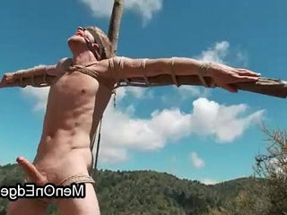 Blindfolded homosexual in forest ass fucking fucked