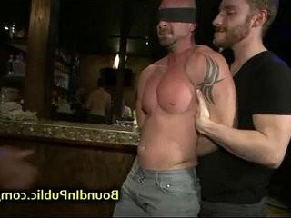 Baldheaded homosexual gangbang fucked in bar